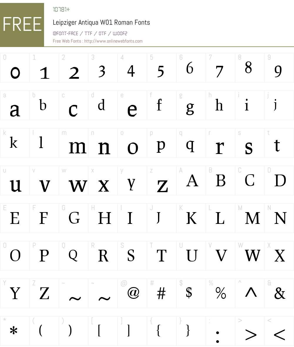LeipzigerAntiquaW01-Roman Font Screenshots