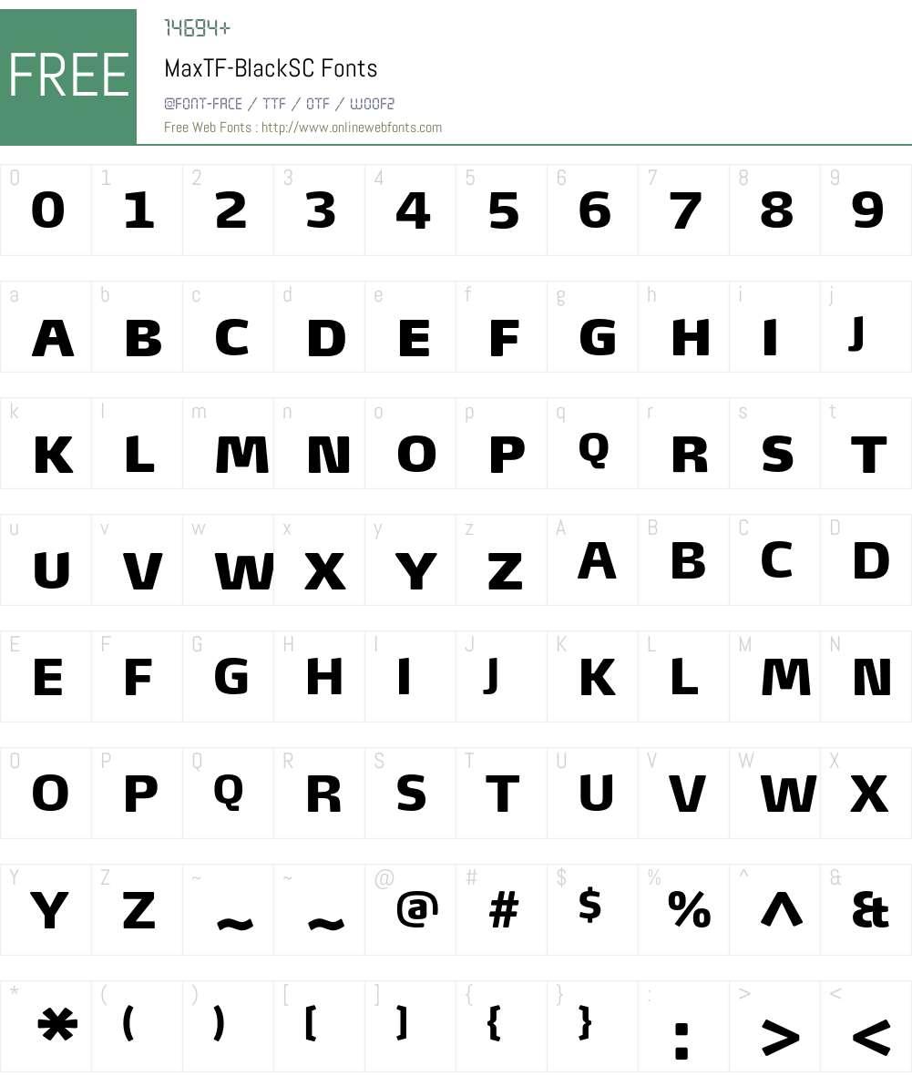 MaxTF-BlackSC Font Screenshots