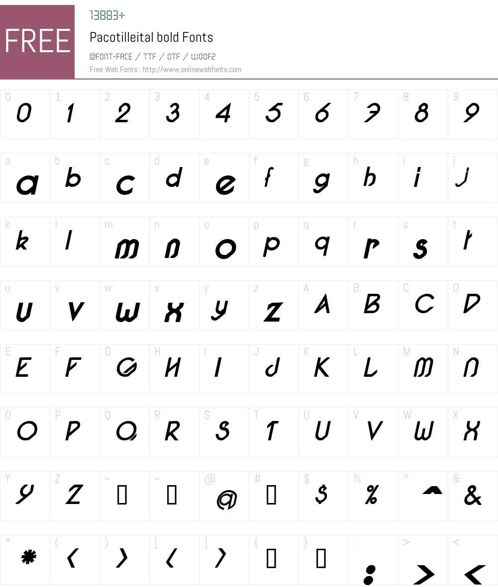 Pacotilleital Font Screenshots
