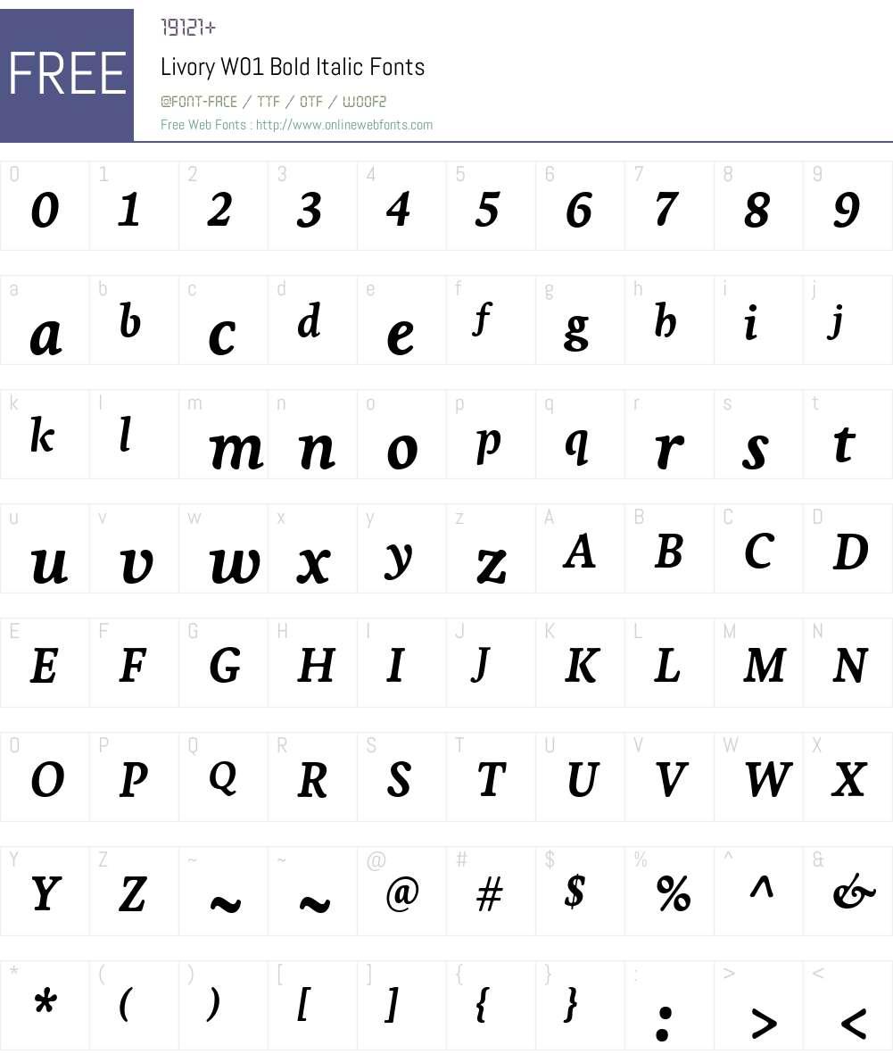 LivoryW01-BoldItalic Font Screenshots