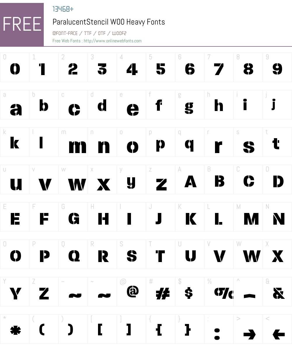 ParalucentStencilW00-Heavy Font Screenshots