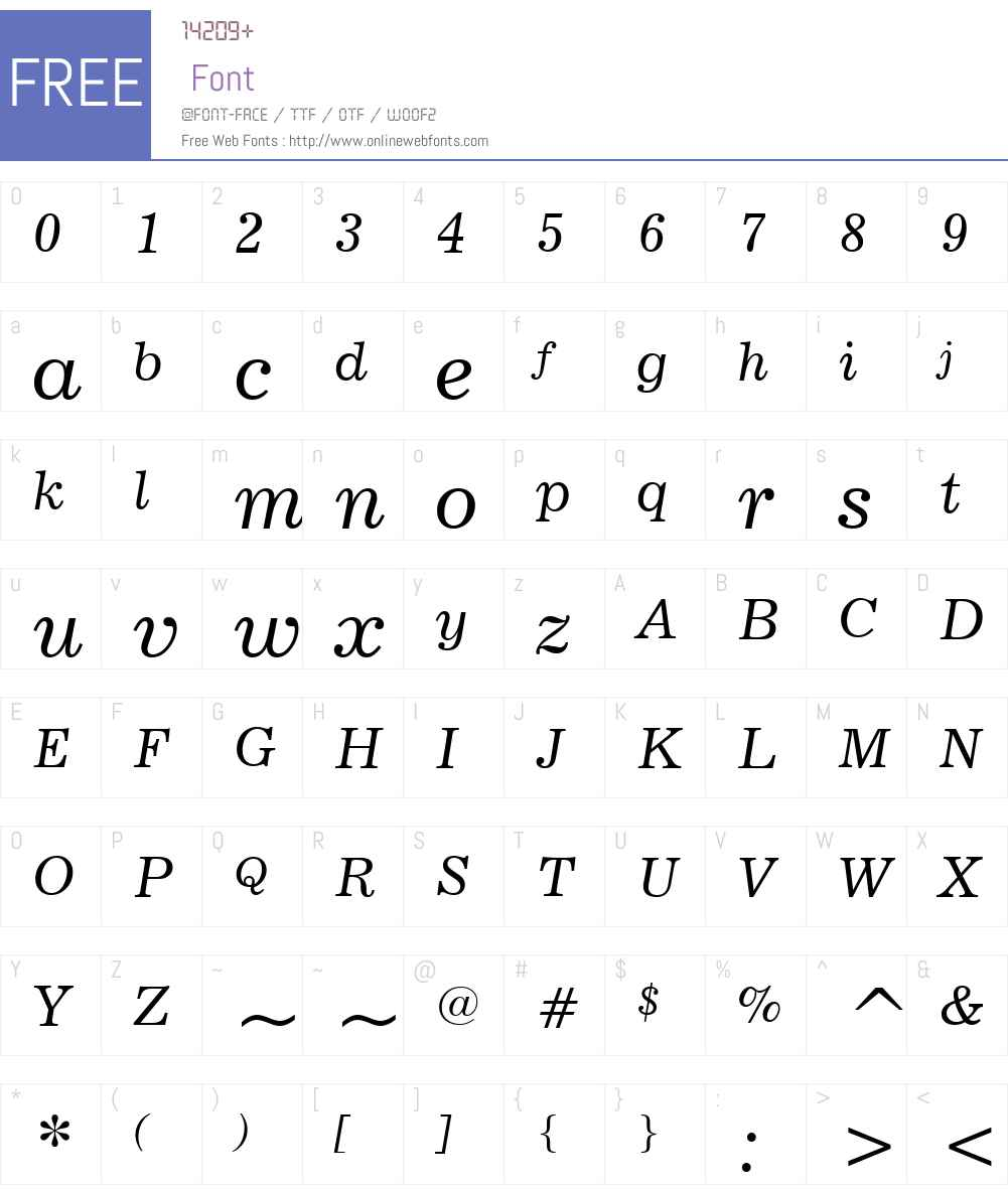 News702W01-Italic Font Screenshots