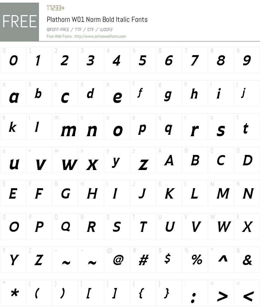 PlathornW01-NormBoldItalic Font Screenshots