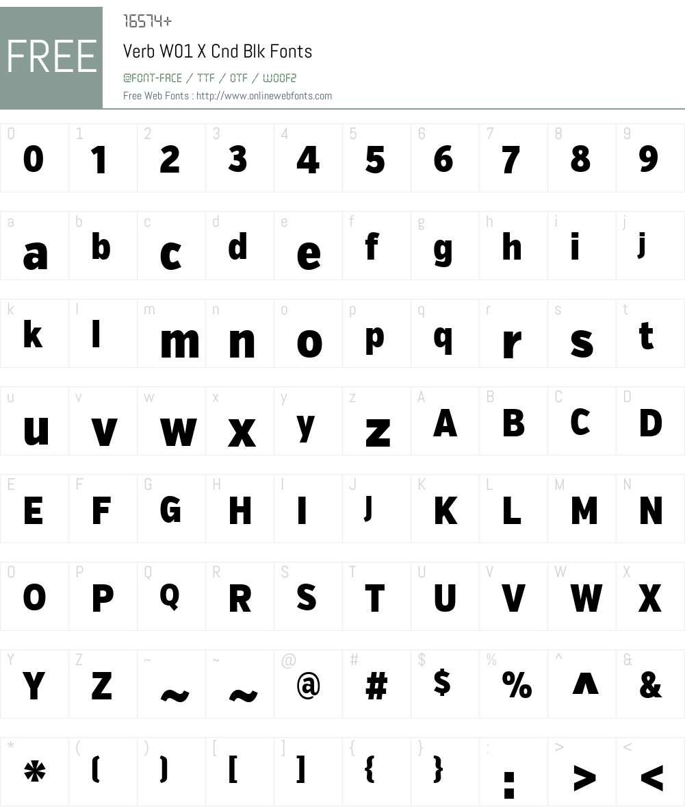 VerbW01-XCndBlk Font Screenshots