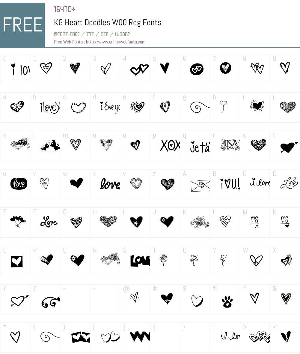 KGHeartDoodlesW00-Reg Font Screenshots