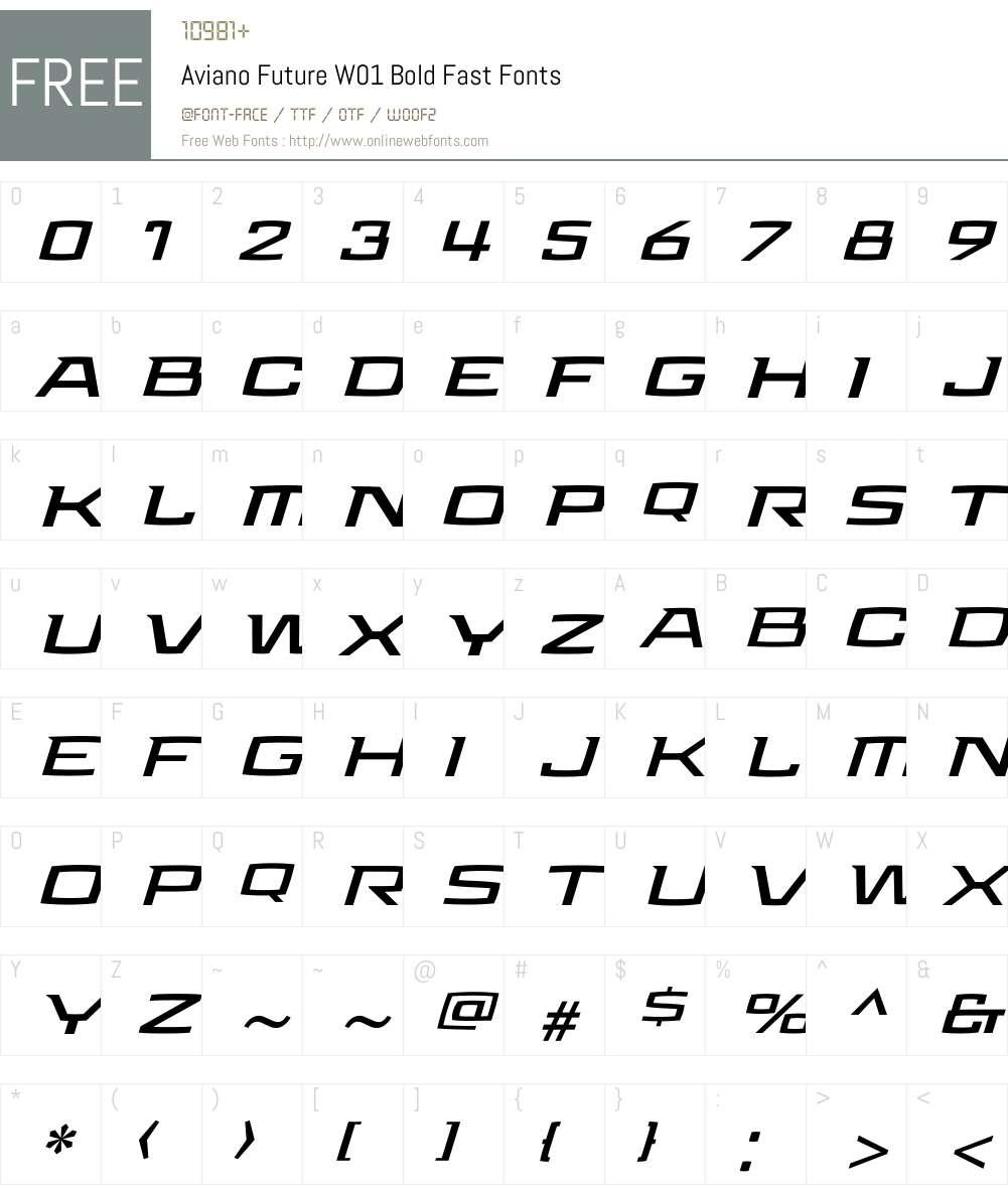 Aviano Future Bold Fast Font Screenshots