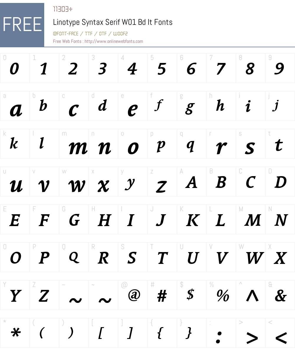 LinotypeSyntaxSerifW01-BdIt Font Screenshots