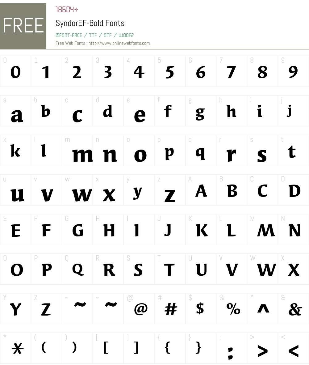 SyndorEF-Bold Font Screenshots