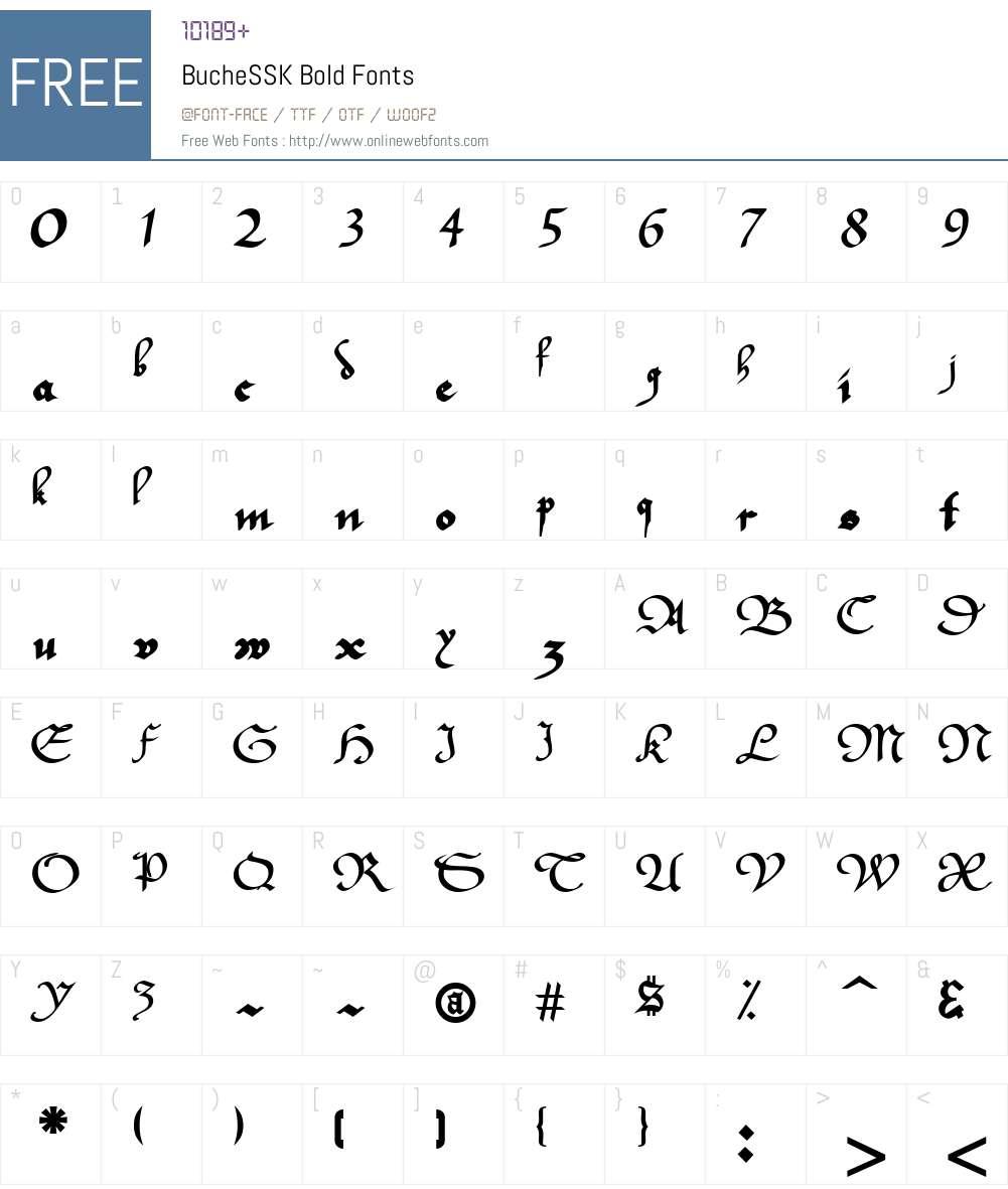 BucheSSK Font Screenshots