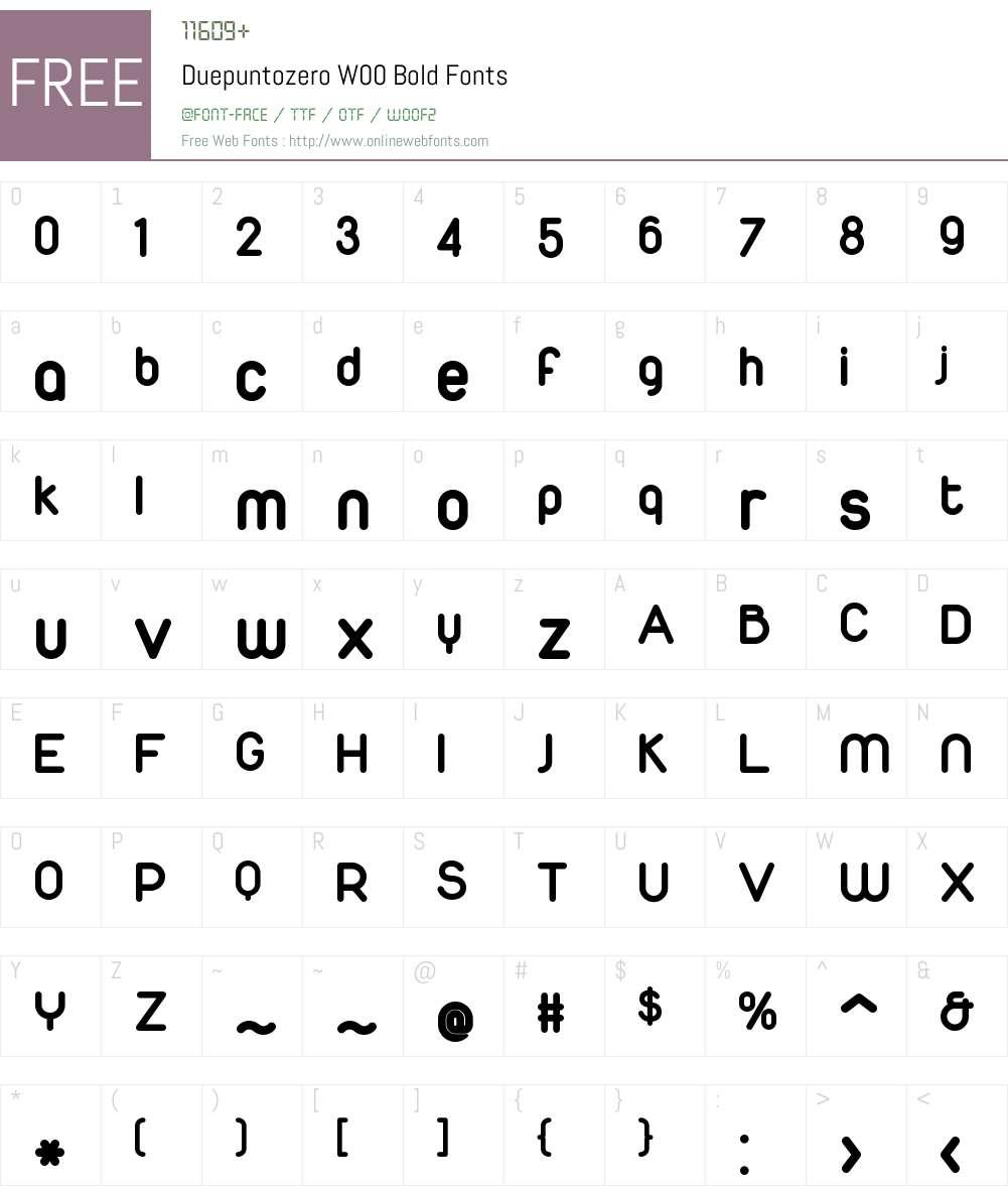 DuepuntozeroW00-Bold Font Screenshots