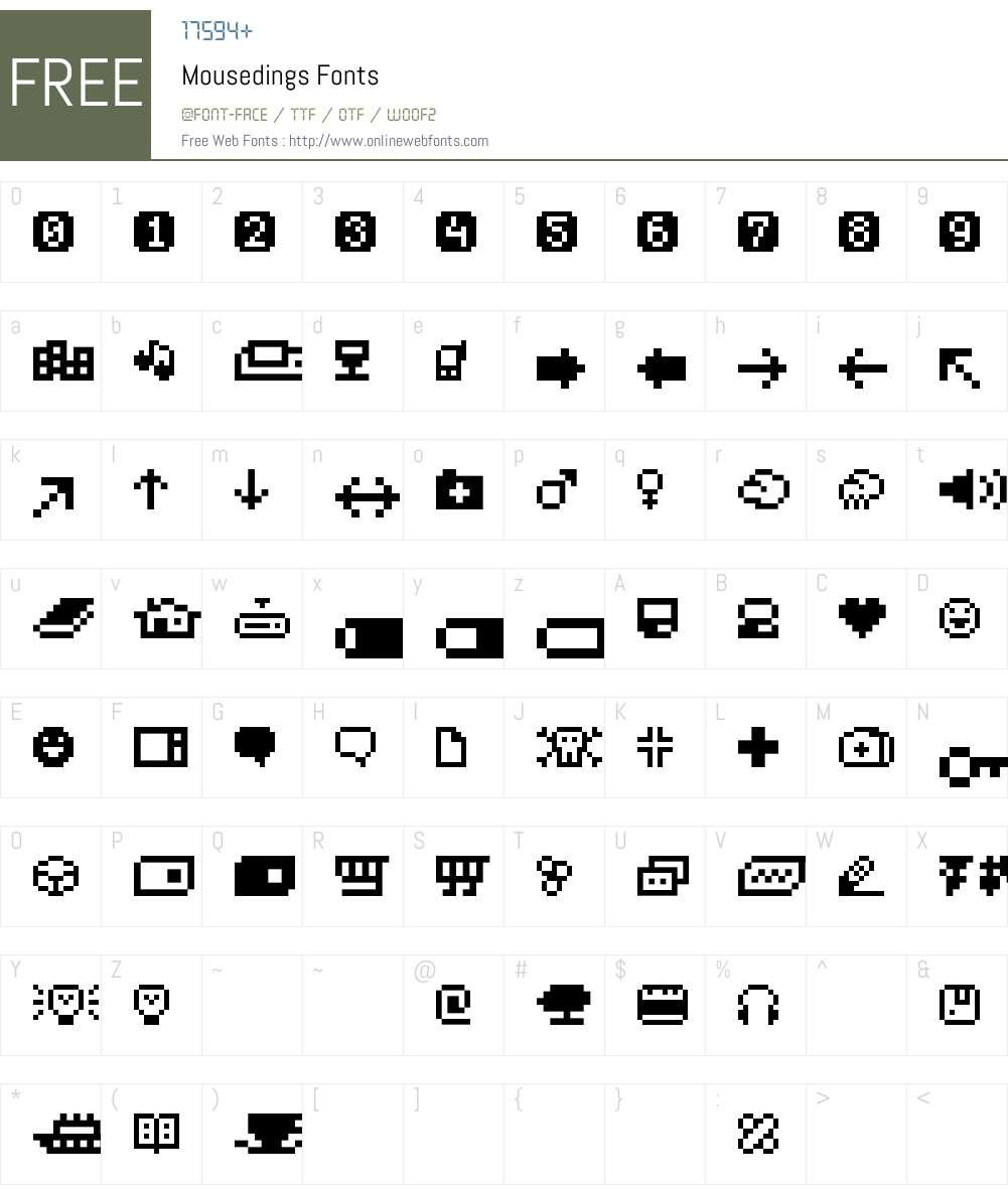 Mousedings Font Screenshots