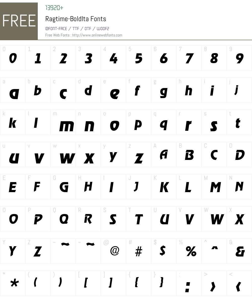 Ragtime-BoldIta Font Screenshots