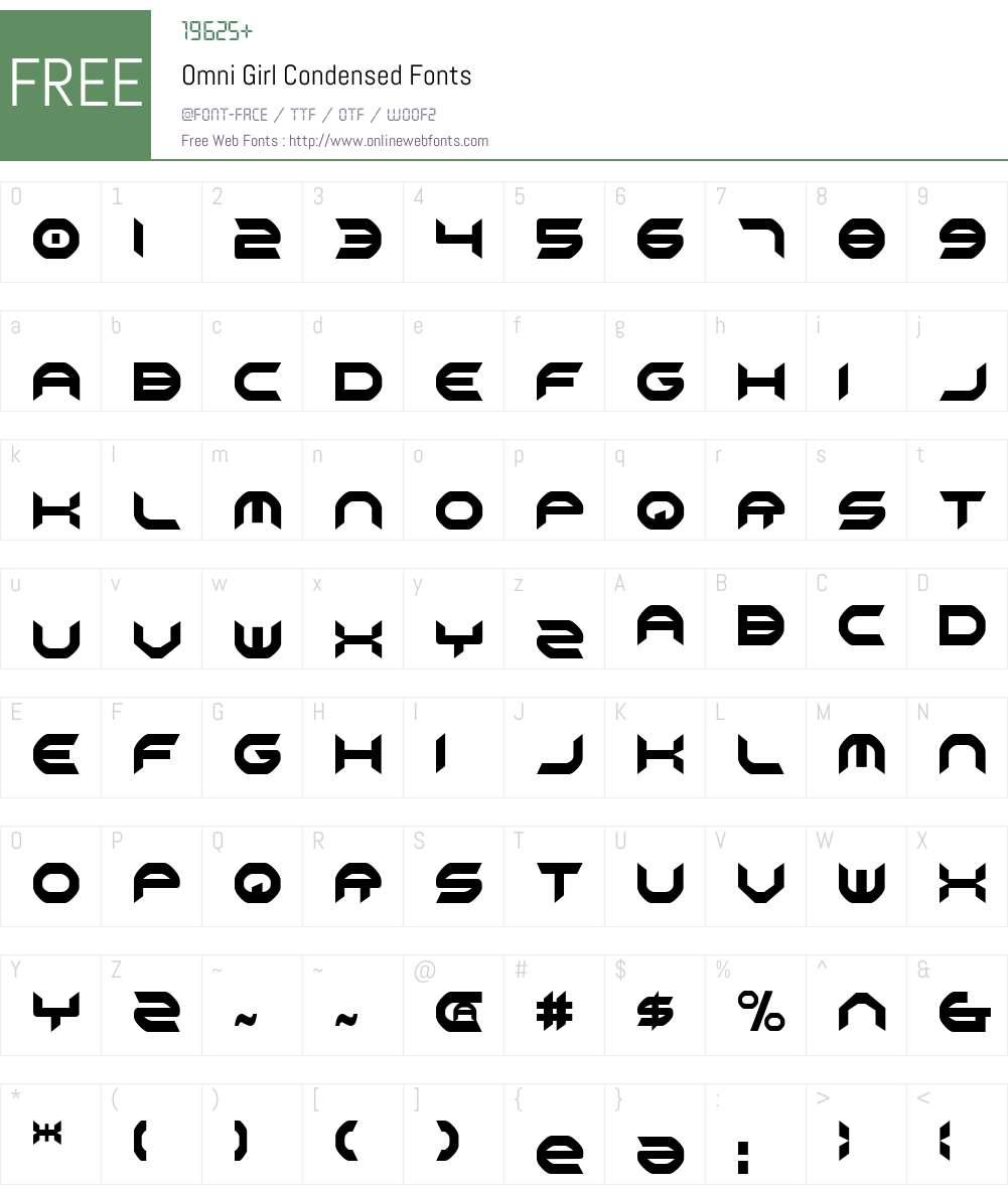 Omni Girl Condensed Font Screenshots
