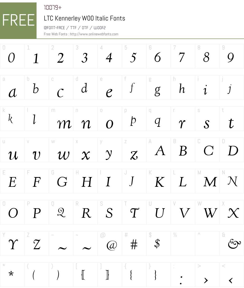 LTCKennerleyW00-Italic Font Screenshots