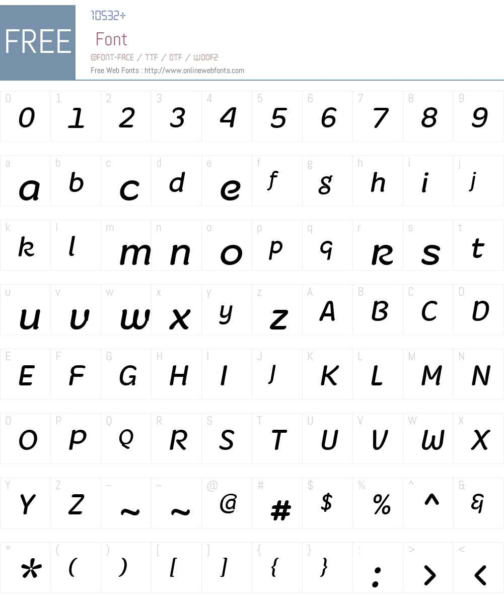 FruitygreenW01-Italic Font Screenshots