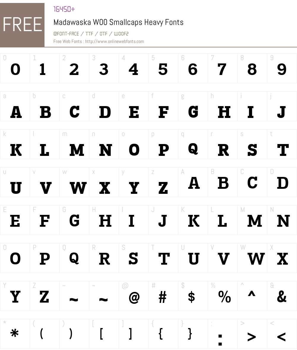 MadawaskaW00-SmallcapsHv Font Screenshots