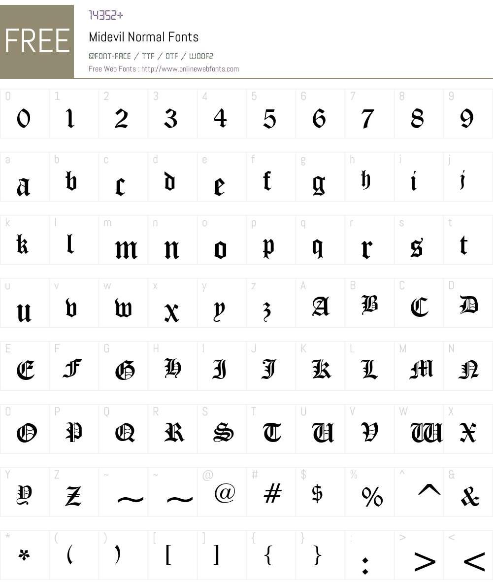 Midevil Font Screenshots