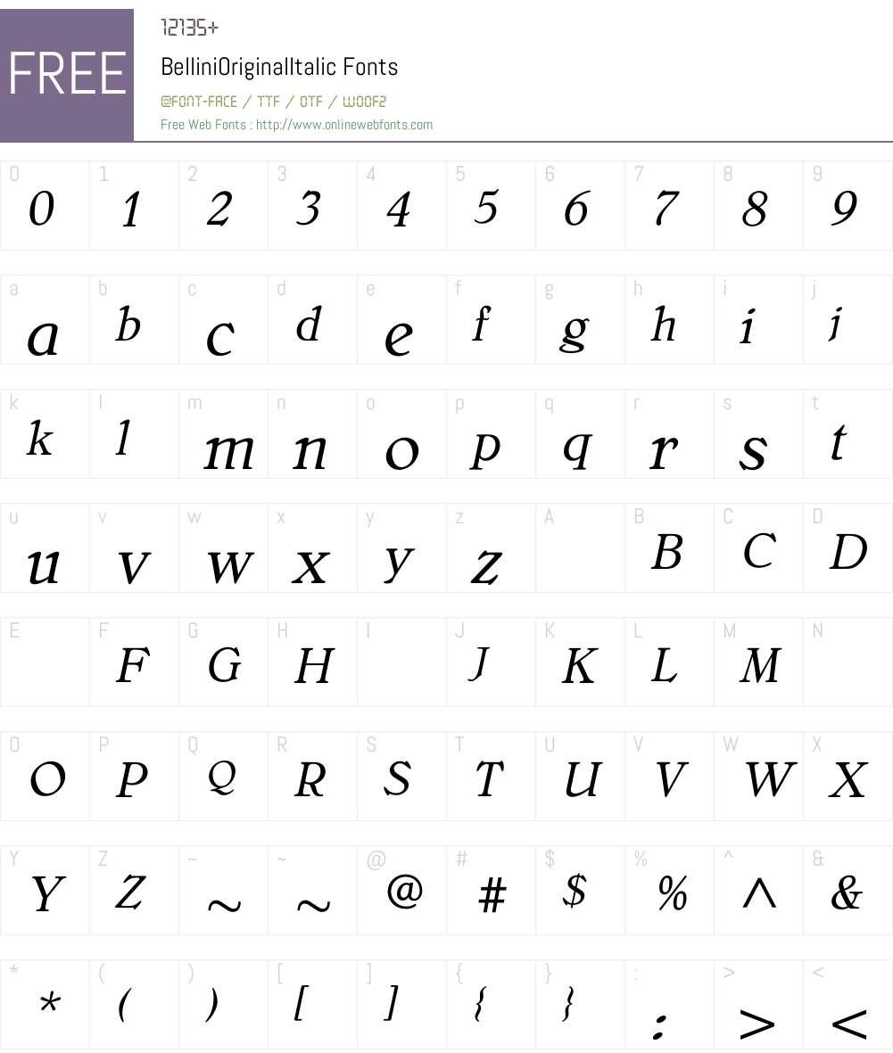 BelliniOriginalItalic Font Screenshots