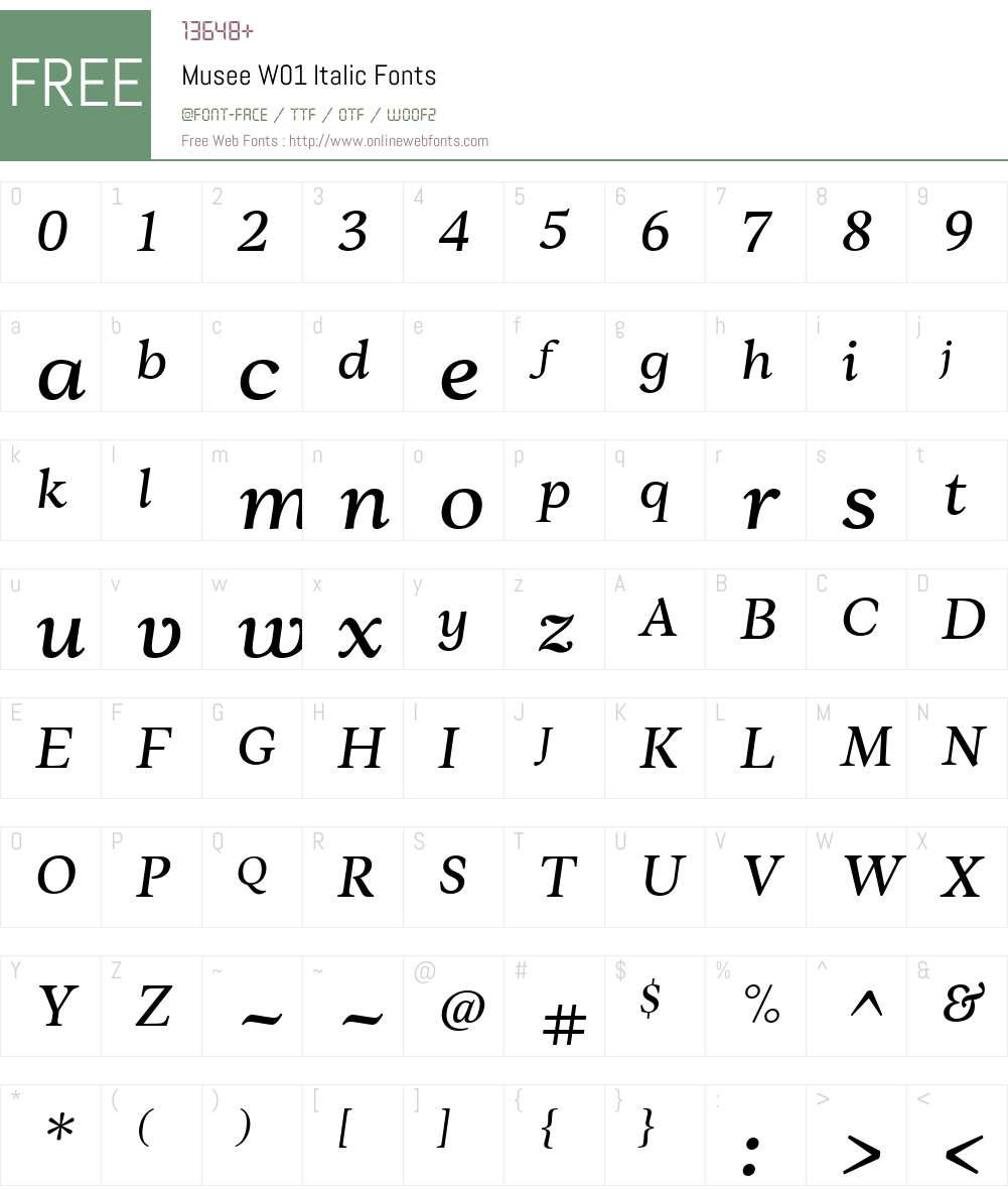 MuseeW01-Italic Font Screenshots
