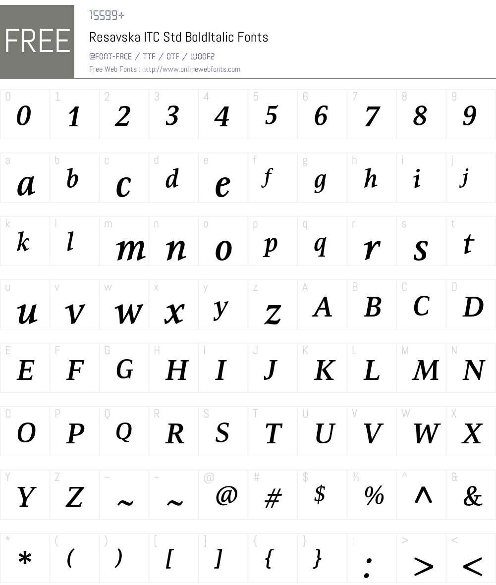 Resavska ITC Std Font Screenshots