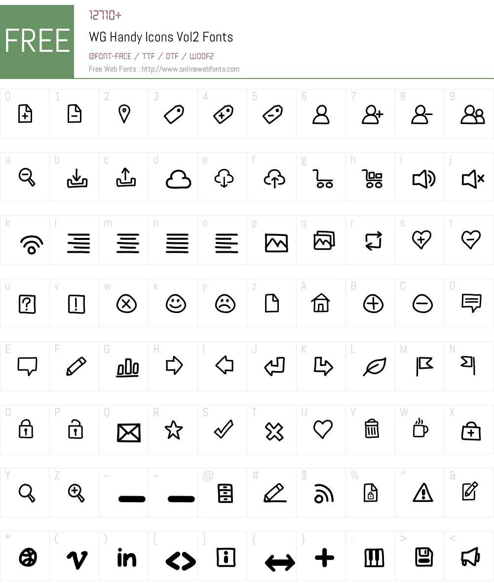 WG Handy Icons Vol2 Font Screenshots