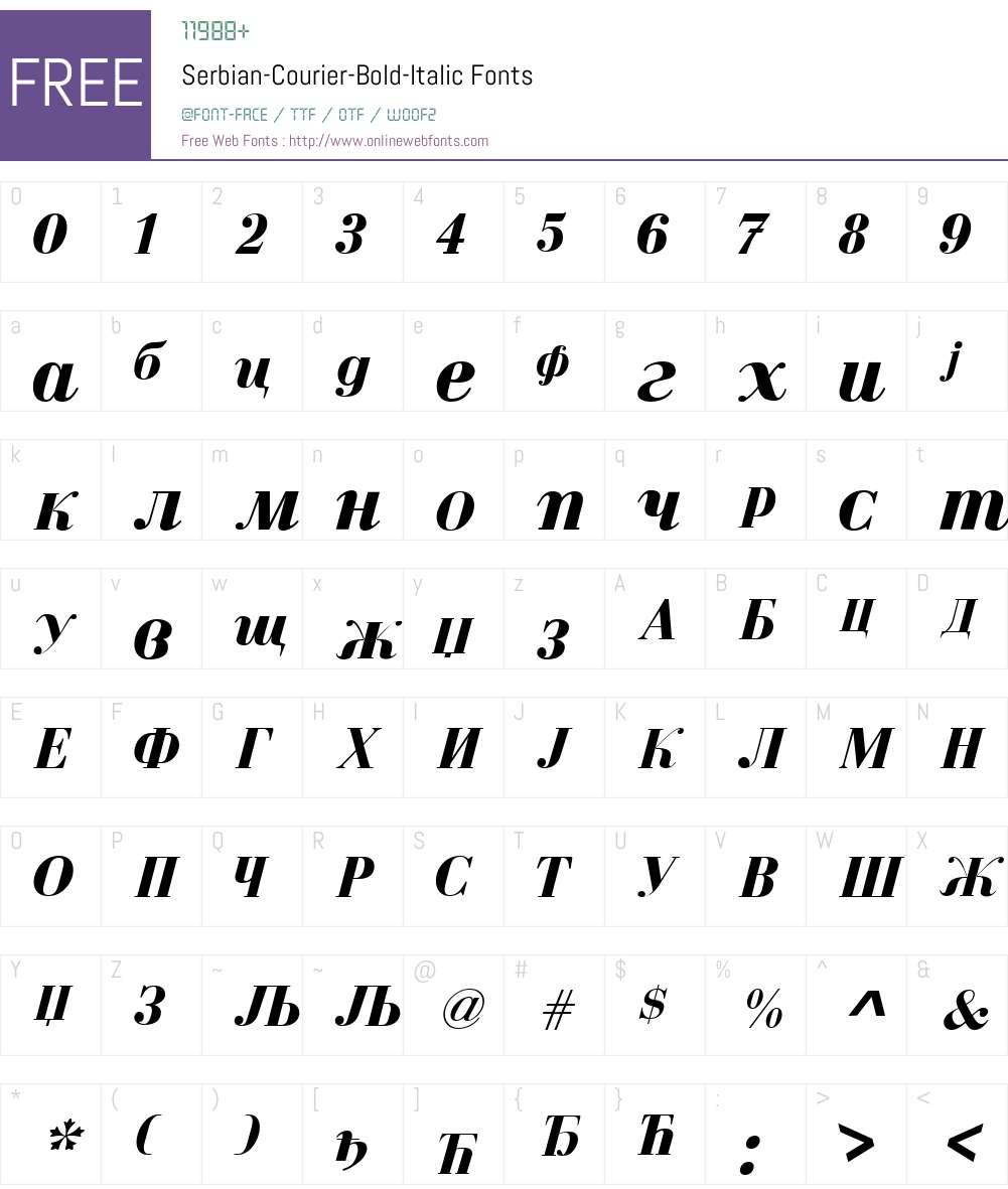 Serbian-Courier Font Screenshots