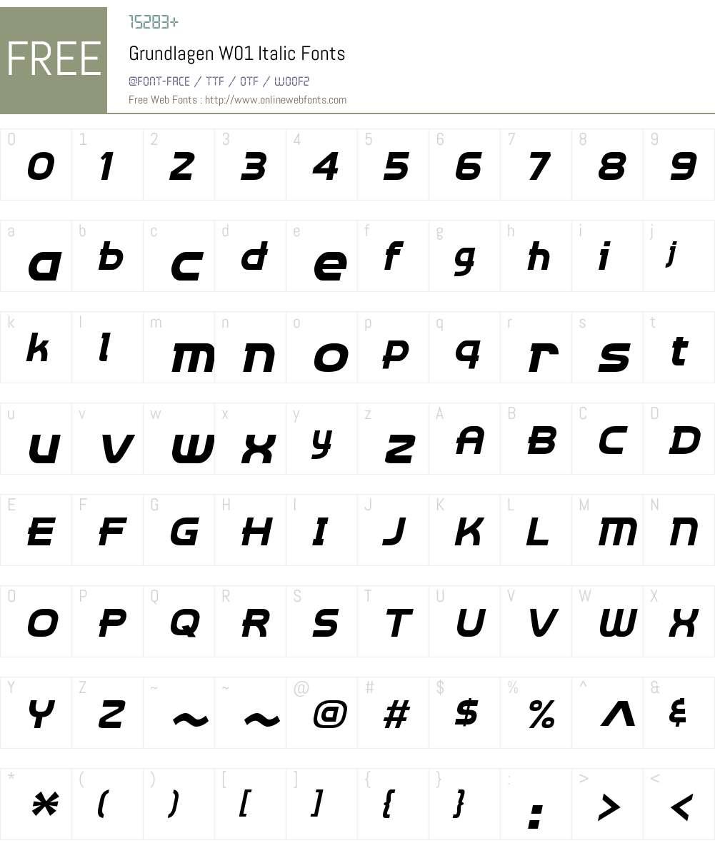 GrundlagenW01-Italic Font Screenshots