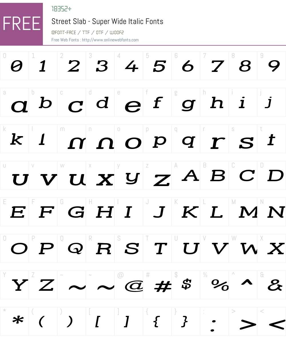 Street Slab - Super Wide Font Screenshots