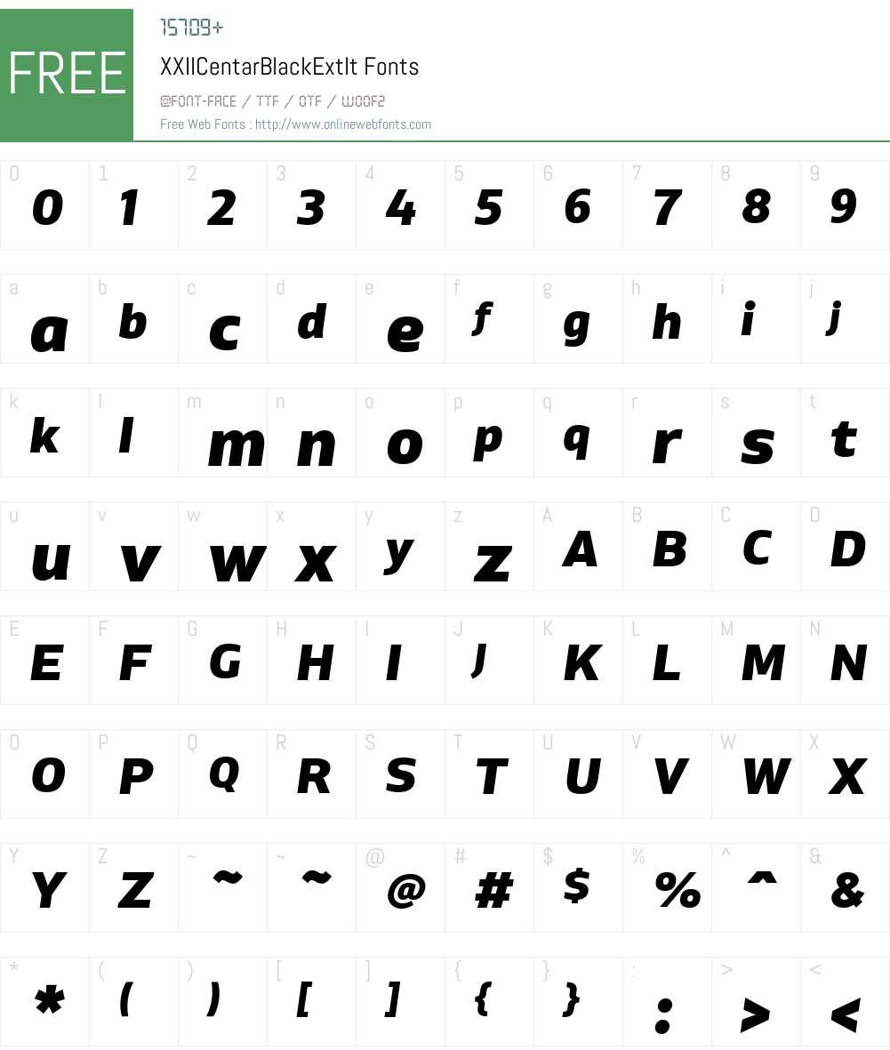 XXIICentarBlackExtIt Font Screenshots
