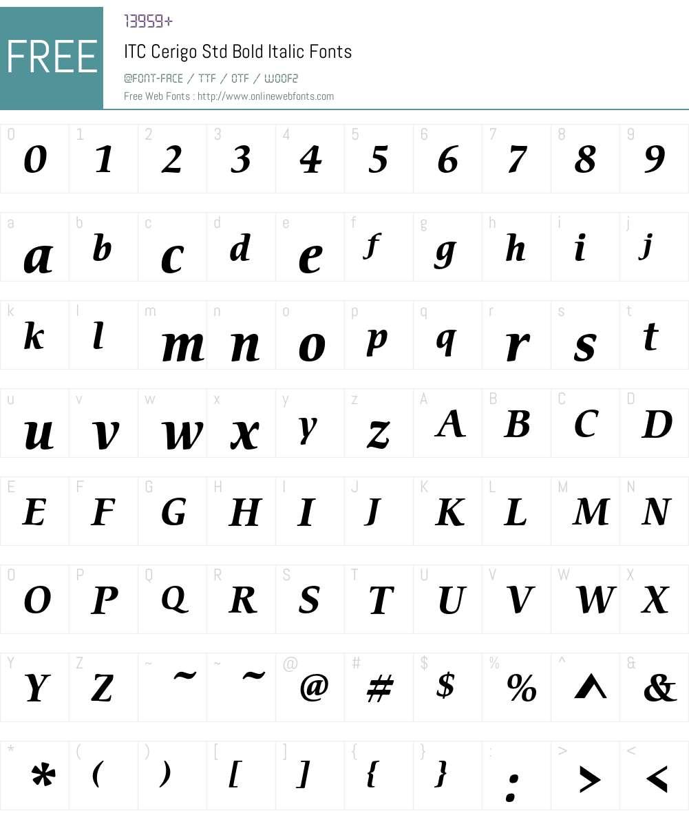 ITC Cerigo Std Font Screenshots