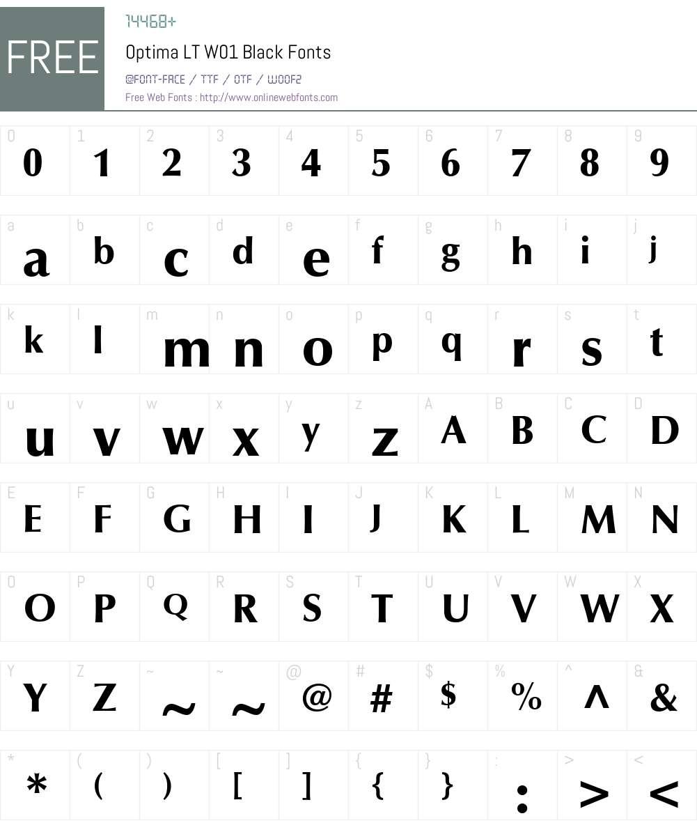 OptimaLTW01-Black Font Screenshots
