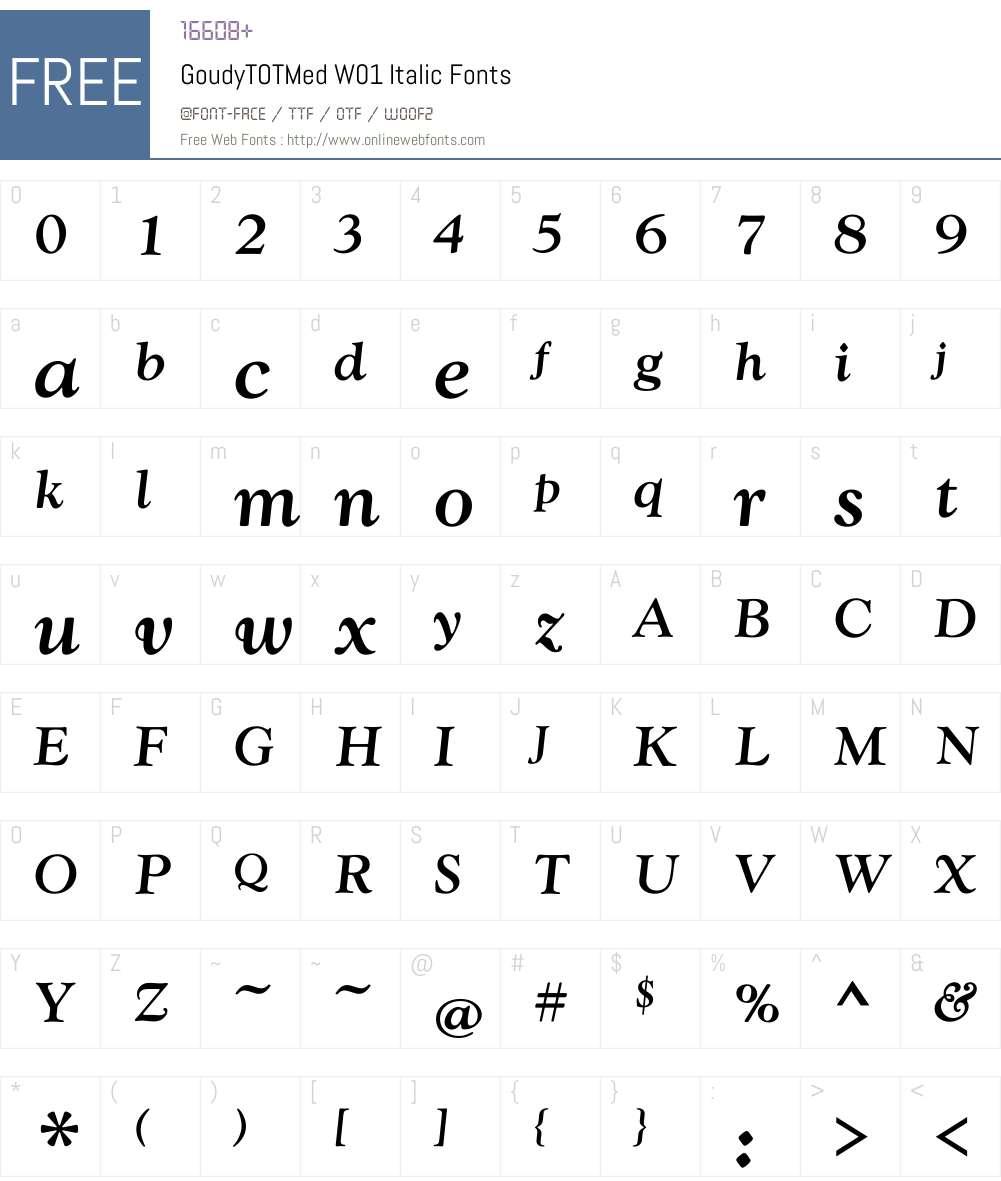 GoudyTOTMedW01-Italic Font Screenshots