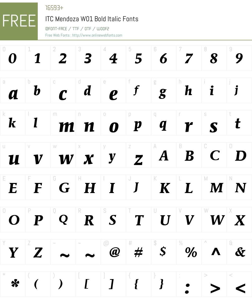 ITCMendozaW01-BoldItalic Font Screenshots