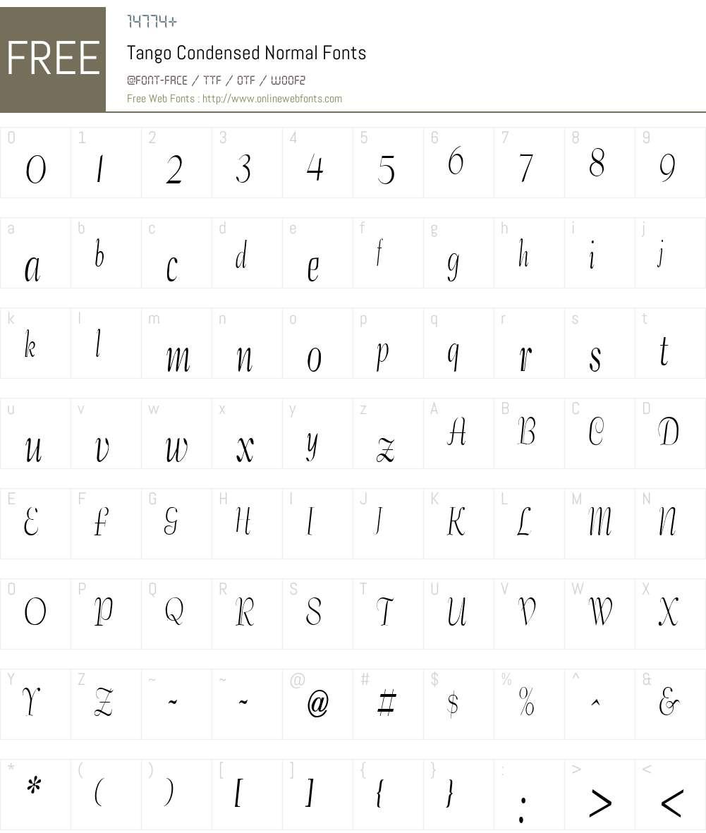 Tango Condensed Font Screenshots