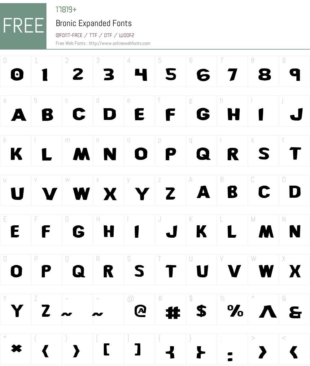 Bronic Expanded Font Screenshots