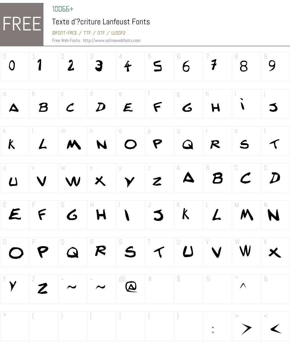 Texte d'?criture Lanfeust Font Screenshots