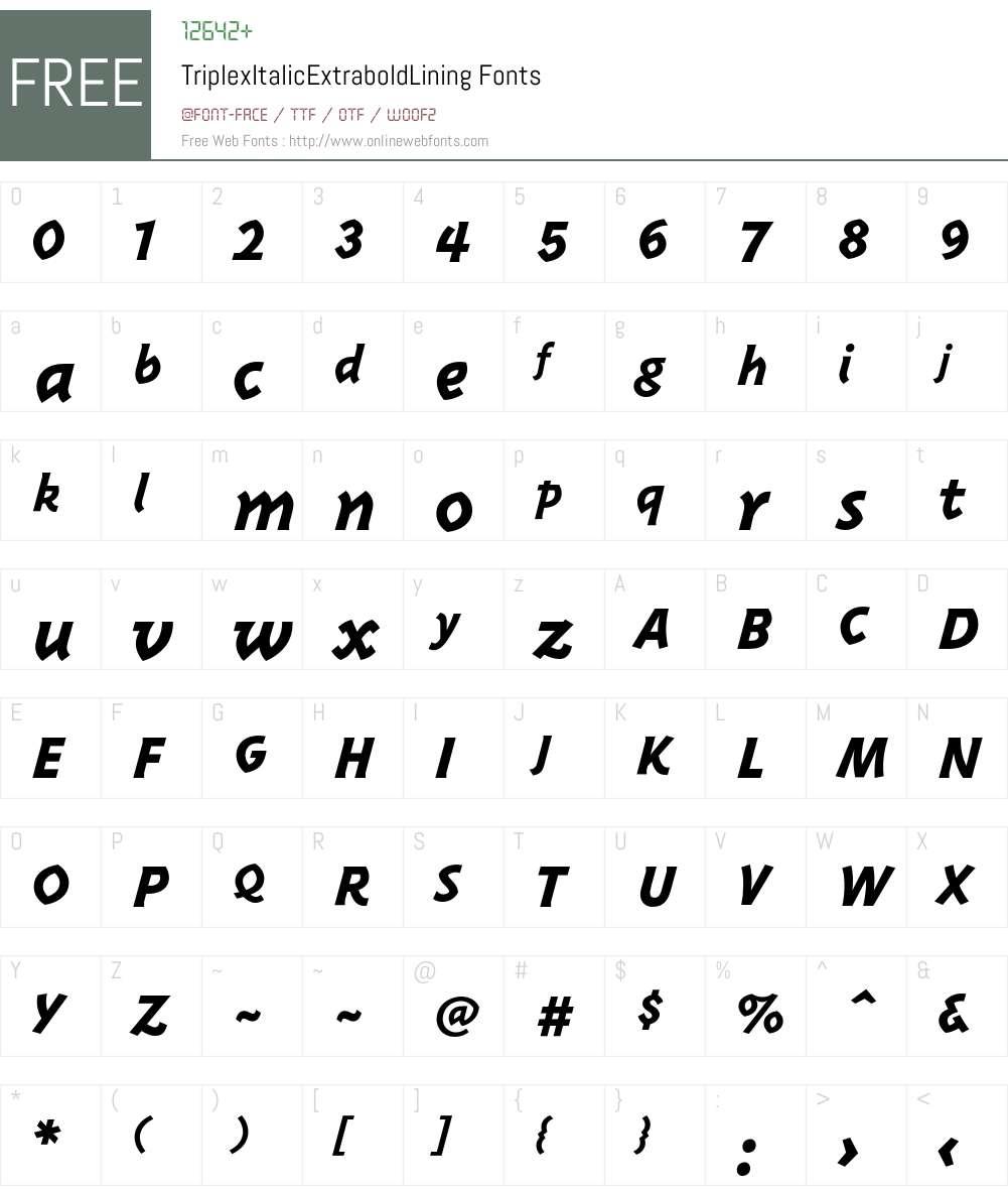 TriplexItalicExtraboldLining Font Screenshots