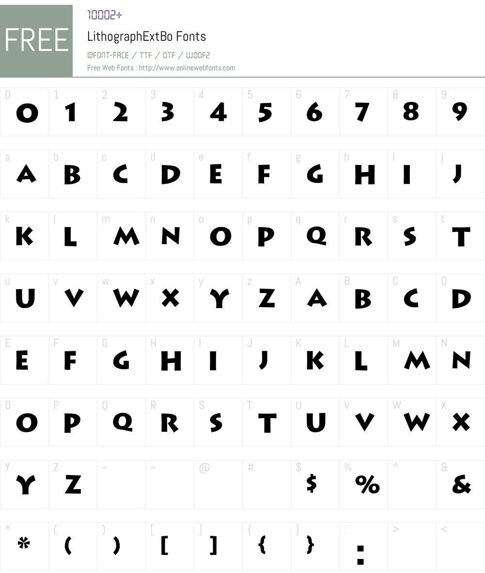 LithographExtBo Font Screenshots