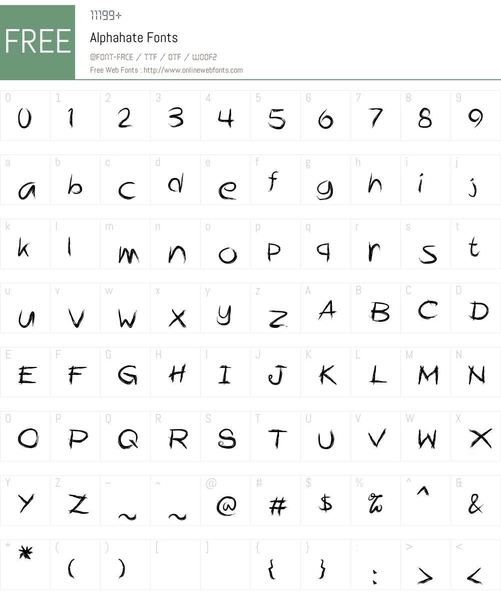 Alphahate Font Screenshots