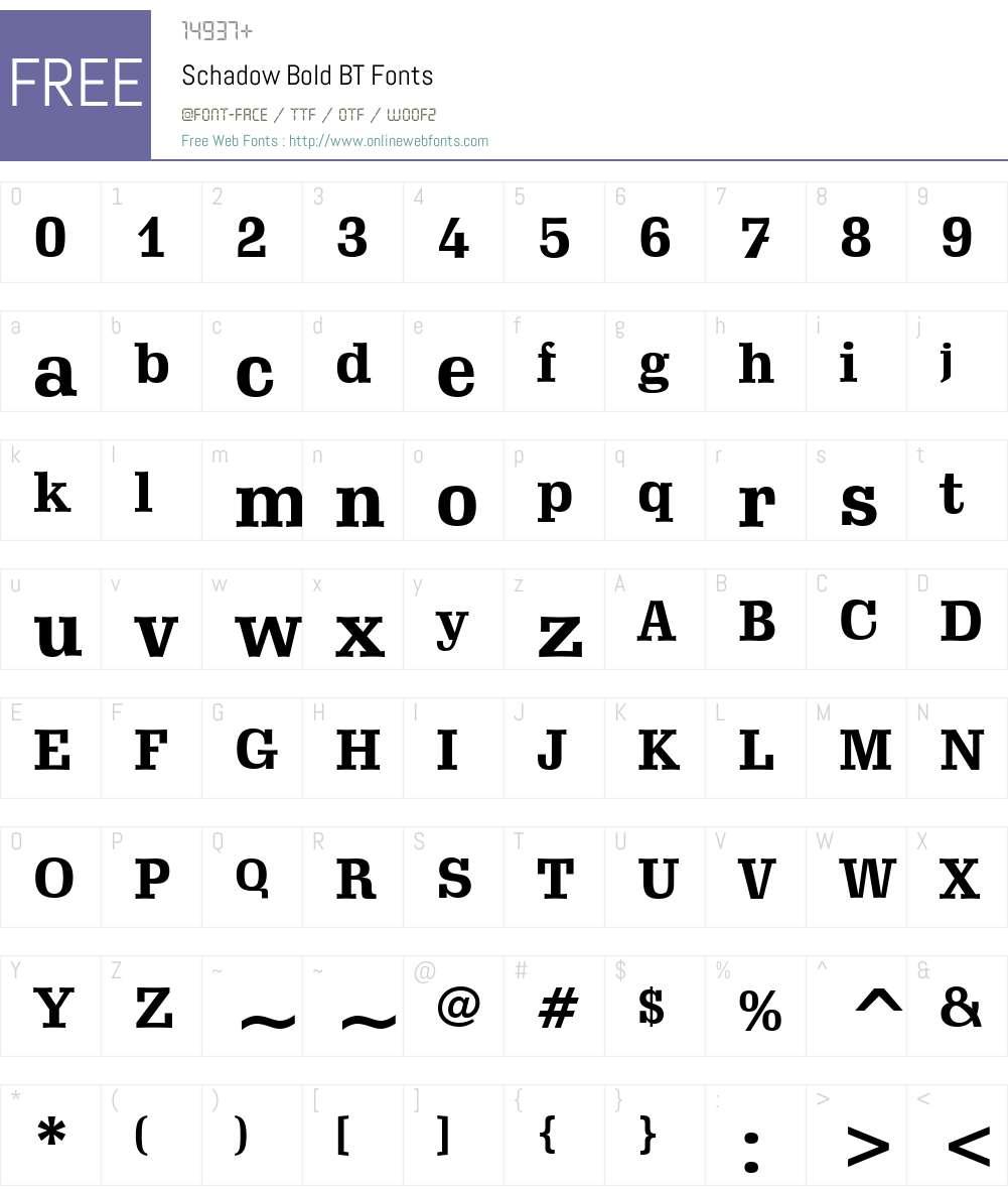 Schadow BT Font Screenshots