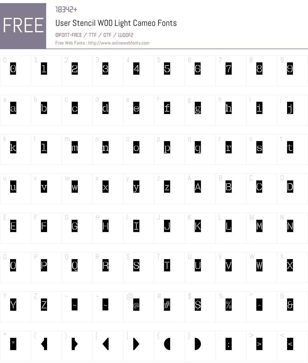 UserStencilW00-LightCameo Font Screenshots