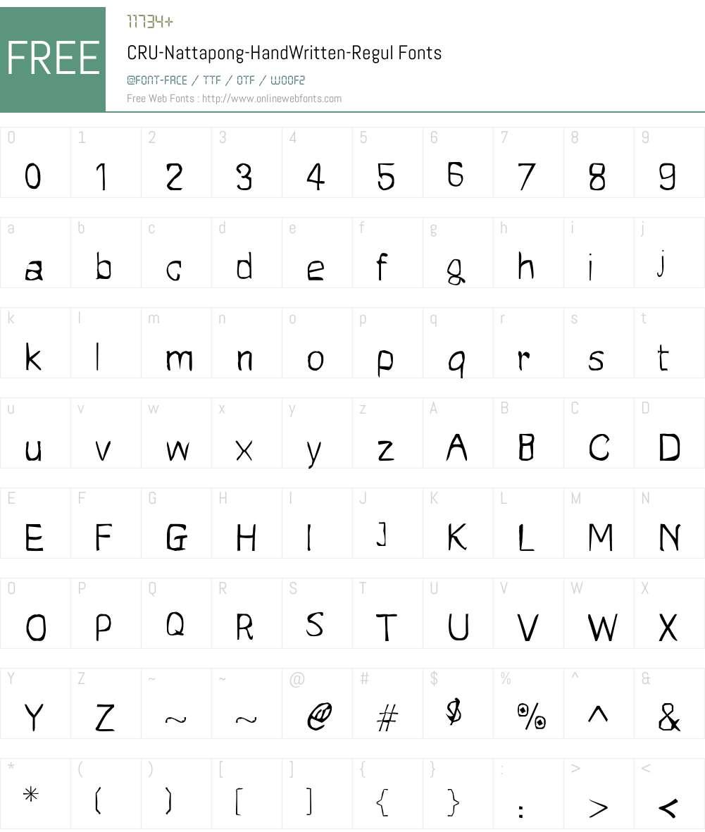CRU-Nattapong-HandWritten-Regul Font Screenshots