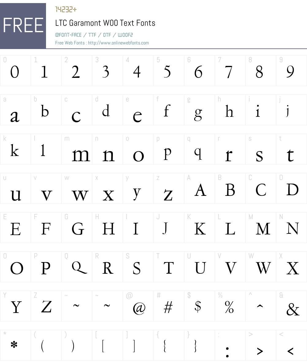 LTCGaramontW00-Text Font Screenshots