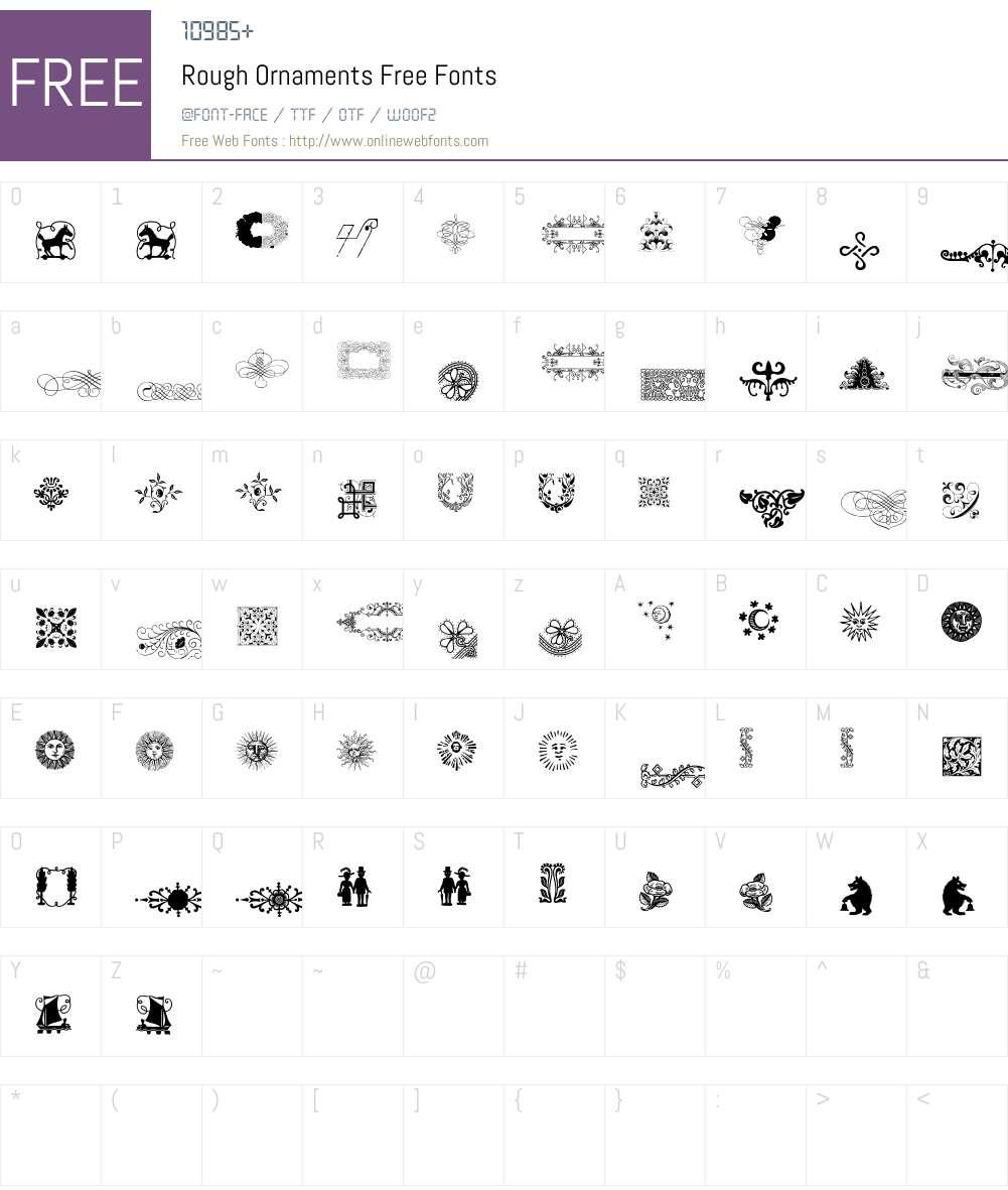 Rough Ornaments Free Font Screenshots