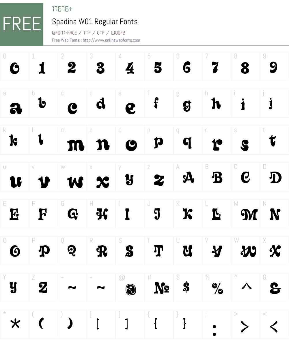Spadina Font Screenshots