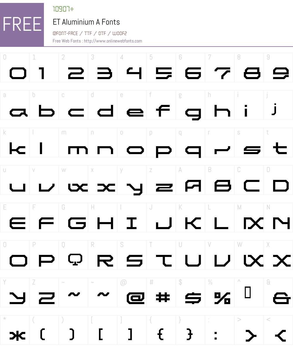 ET Aluminium A Font Screenshots