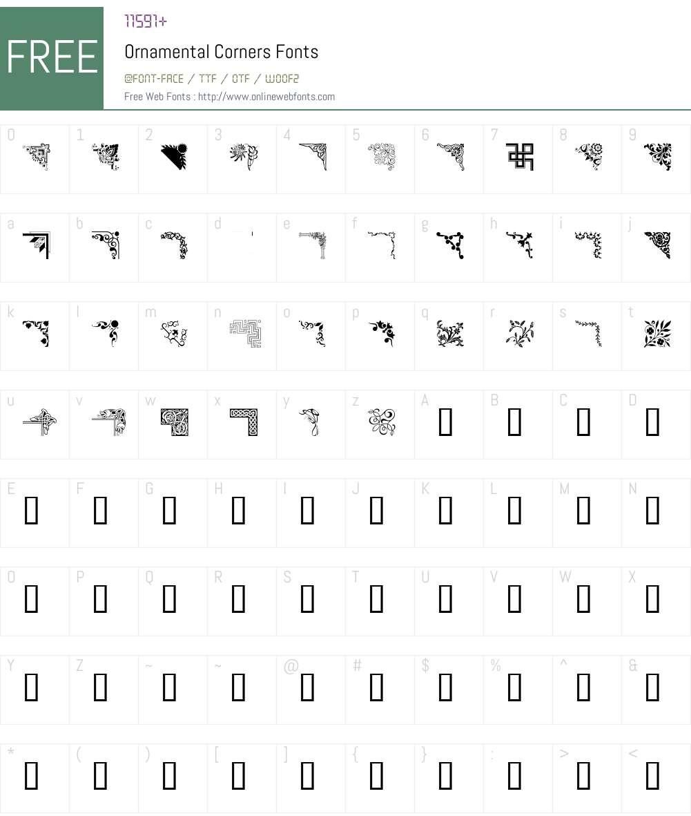 Ornamental Corners Font Screenshots