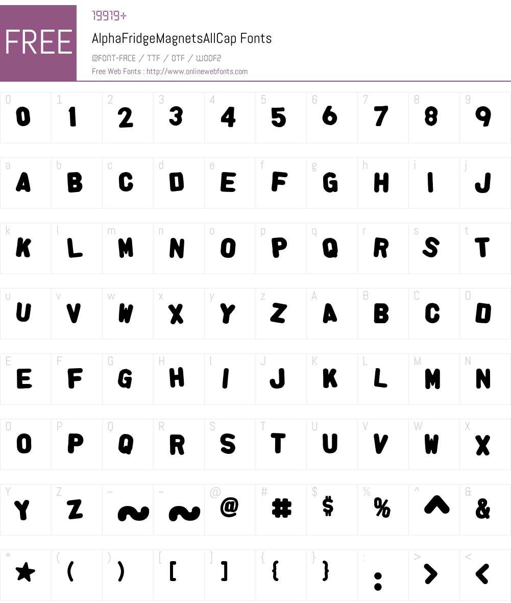 AlphaFridgeMagnetsAllCap Font Screenshots