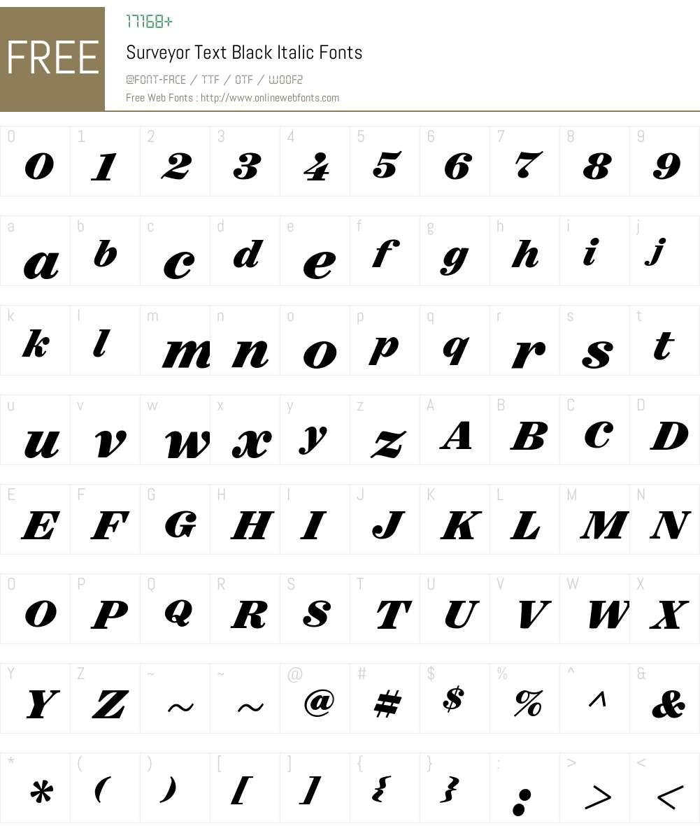 Surveyor Text Black Font Screenshots