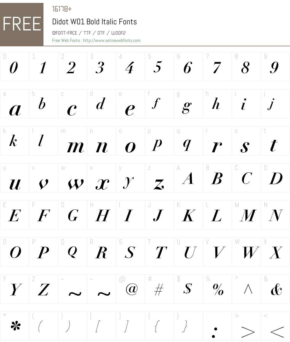 DidotW01-BoldItalic Font Screenshots